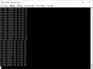 移動平均版でのLM35DZ処理出力